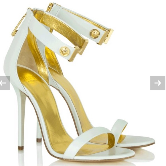 28e4188442e Versace Versus white and gold heels